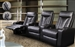 Pavillion Theater Seating - 3 Black Leather Chairs By Coaster 600130-3