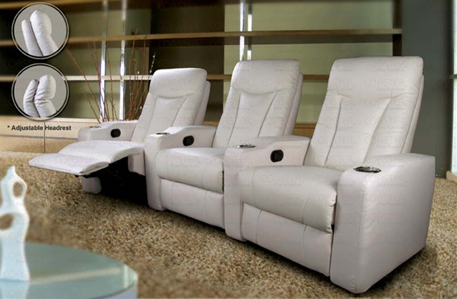 pavillion theater seating 3 white leather chairs by coaster