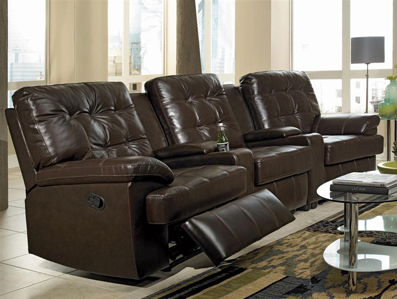 grace 5 piece brown leather theater seating by coaster 600137 5. Black Bedroom Furniture Sets. Home Design Ideas