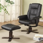 Black Leather Chair with Matching Ottoman by Coaster - 600143