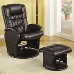 Brown Leather Like Glider with Matching Ottoman by Coaster - 600164