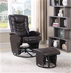 Brown Glider Recliner Chair with Matching Ottoman by Coaster - 600165