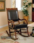 Traditional Wood Rocker with Brown Bicast Leather Seat and Back by Coaster - 600188