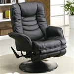 Black Leatherette Swivel Recliner by Coaster - 600229