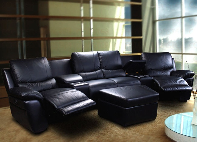 Lucerne Collection - Motorized Black Leather Sectional - Coaster 600251M : coaster leather sectional - Sectionals, Sofas & Couches