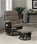 Light Brown Corduroy Glider with Matching Ottoman by Coaster - 600262