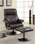 Dark Brown Vinyl Chair with Matching Ottoman by Coaster - 600263