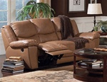 Edwin Double Reclining Sofa in Taupe Leather by Coaster - 600271