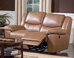 Edwin Double Reclining Love Seat in Taupe Leather by Coaster - 600272