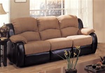Rivera Sofa in Mocha Microfiber and Brown Leather-Like Vinyl by Coaster - 600361S