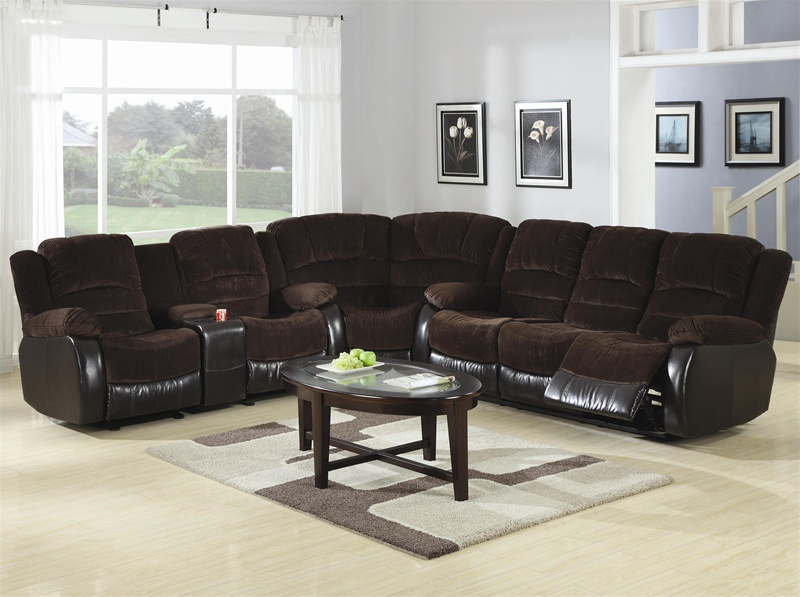 Johanna Chocolate Corduroy 3 Piece Reclining Sectional By Coaster 600363