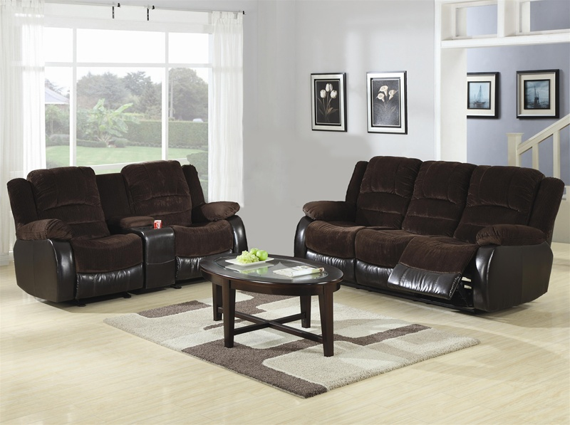 Johanna Chocolate Corduroy 2 Piece Reclining Sofa Loveseat Set by