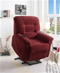 Power Lift Recliner in Brick Red Chenille Upholstery by Coaster - 600400