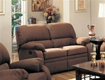 Michelle Motion Love Seat in Chocolate Microfiber by Coaster - 600412
