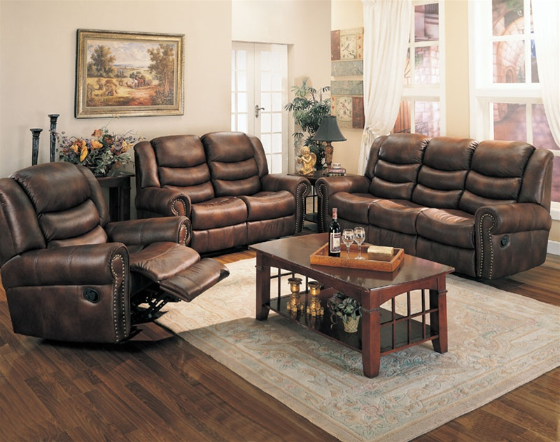 Luxury Leather Chairs aiden motion sofa in coffee leather like fabriccoaster - 600451