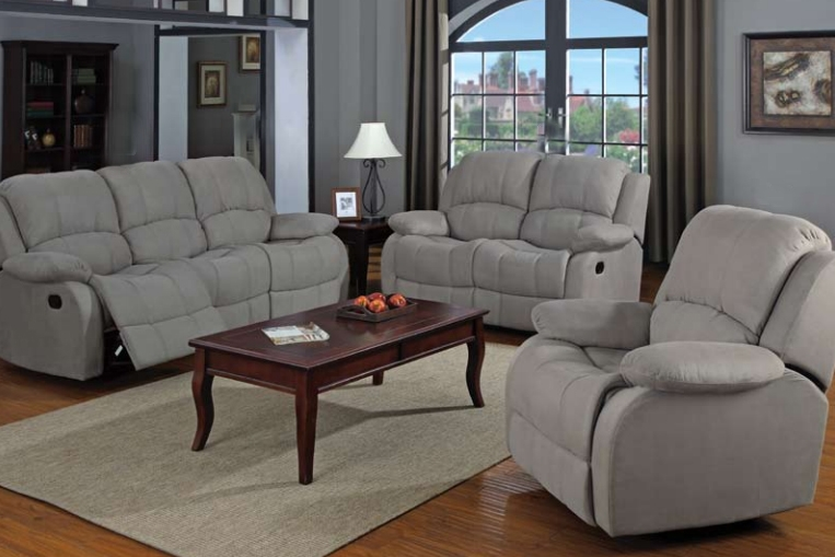 Superbe Reed Grey Microfiber 2 Pc Motion Sofa Set By Coaster   600861 S