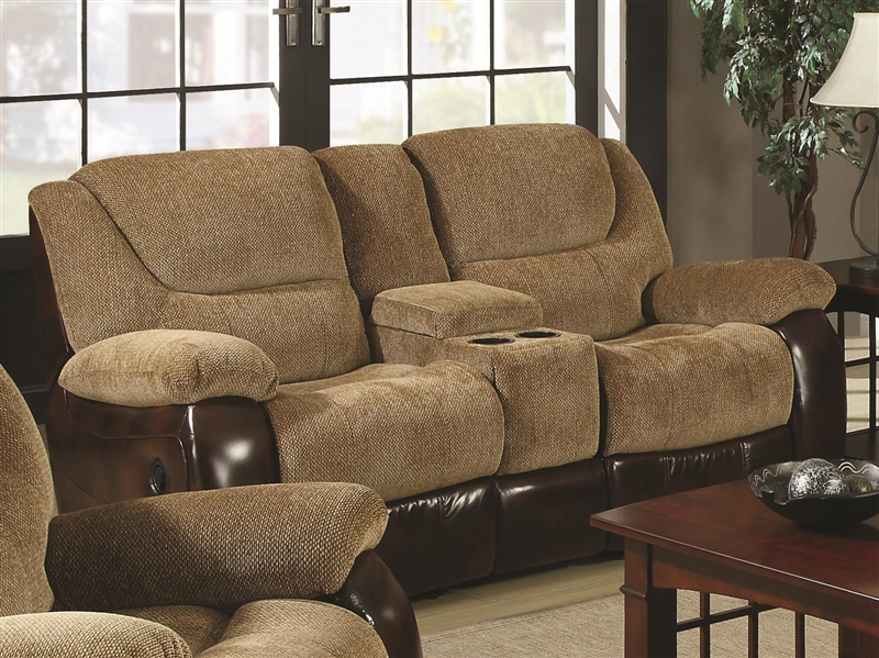 Malena Reclining Loveseat In Two Tone Upholstery By