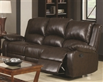 Boston Reclining Sofa in Brown Leather Like Vinyl Upholstery by Coaster - 600971