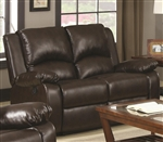 Boston Reclining Loveseat in Brown Leather Like Vinyl Upholstery by Coaster - 600972
