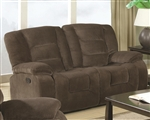 Charlie Reclining Loveseat in Brown Sabe Fabric by Coaster - 600992