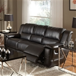 Lee Reclining Sofa in Black Leather Upholstery by Coaster - 601061