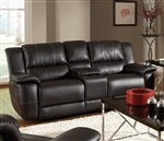 Lee Gliding Reclining Console Loveseat in Black Leather Upholstery by Coaster - 601062