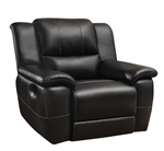 Lee Glider Recliner in Black Leather Upholstery by Coaster - 601063