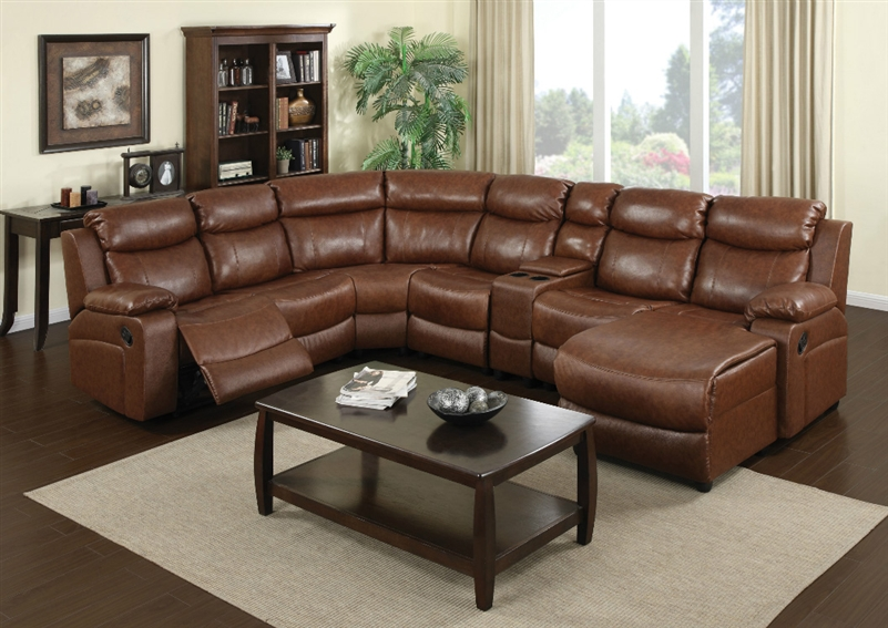 Ellsworth 7 Piece Warm Brown Leather Reclining Sectional by Coaster - 601211 : brown reclining sectional - Sectionals, Sofas & Couches