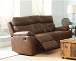 Damiano Reclining Sofa in Brown Leatherette Upholstery by Coaster - 601691
