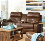 Damiano Reclining Console Loveseat in Brown Leatherette Upholstery by Coaster - 601692