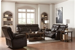 Zimmerman 2 Piece Power Reclining Sofa Set in Brown Leatherette Upholstery by Coaster - 601711P-S
