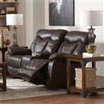 Zimmerman Reclining Console Loveseat in Brown Leatherette Upholstery by Coaster - 601712