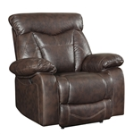 Zimmerman Power Recliner in Brown Leatherette Upholstery by Coaster - 601713P