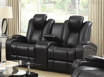 Element Power Recline Loveseat in Black Leather Upholstery by Coaster - 601742P