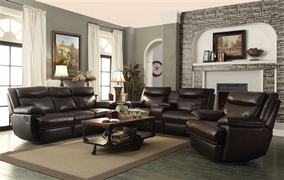 Macpherson 2 Piece Reclining Sofa Set In Cocoa Bean Leather By Coaster 601811 S