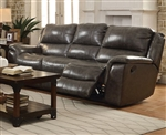 Wingfield Reclining Sofa in Charcoal Leather by Coaster - 601821
