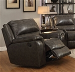 Wingfield Glider Recliner in Charcoal Leather by Coaster - 601823