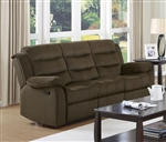 Rodman Reclining Sofa in Chocolate Velvet Upholstery by Coaster - 601881