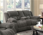 Weissman Reclining Console Loveseat in Charcoal Chenille by Coaster - 601922