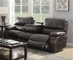 Willemse Reclining Sofa in Dark Brown Leatherette Upholstery by Coaster - 601931