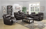 Willemse 2 Piece Reclining Sofa Set in Dark Brown Leatherette Upholstery by Coaster - 601931-S