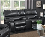 Willemse Reclining Console Loveseat in Black Leatherette Upholstery by Coaster - 601935