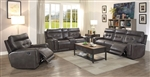 Trenton 2 Piece Reclining Sofa Set in Dark Grey Leatherette Upholstery by Coaster - 602064-S