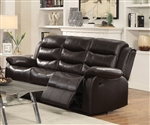 Rodman Reclining Sofa in Dark Brown Leather Upholstery by Coaster - 602221