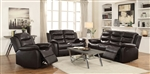 Rodman 2 Piece Reclining Sofa Set in Dark Brown Leather Upholstery by Coaster - 602221-S