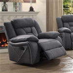 Houston Glider Recliner in Stone Microfiber Upholstery by Coaster - 602263