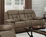 Houston Reclining Console Loveseat in Tan Microfiber Upholstery by Coaster - 602265