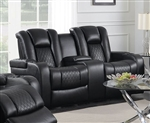 Delangelo Power Console Loveseat in Black Leather Like Upholstery by Coaster - 602302P