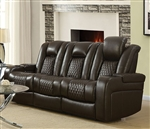Delangelo Power Sofa in Brown Leather Like Upholstery by Coaster - 602304P