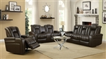 Delangelo 2 Piece Power Recline Sofa Set in Brown Leather Like Upholstery by Coaster - 602304P-S